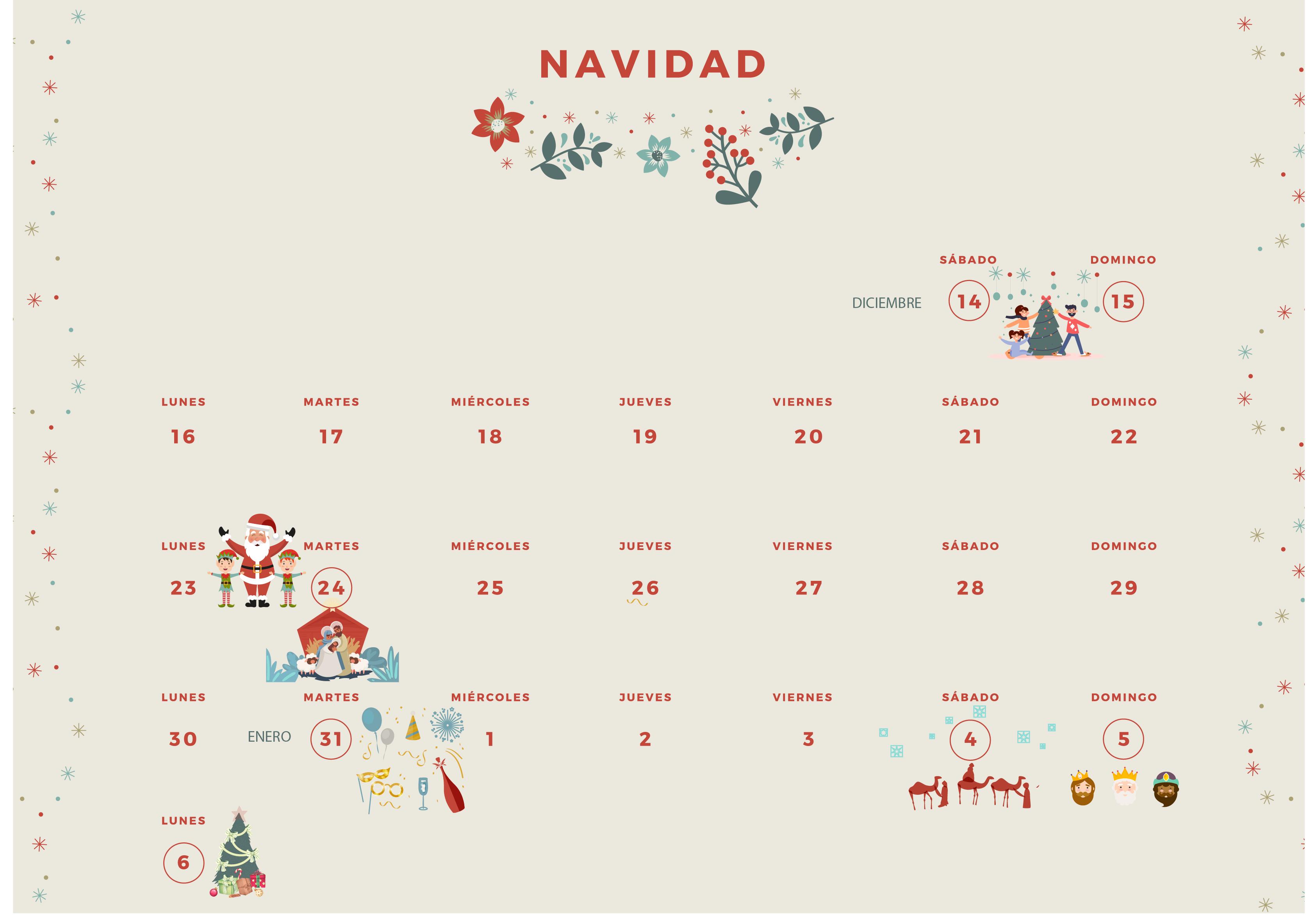 calendario navidad tea